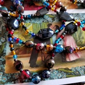 Jewelry - Colorful glass beads necklace double strand